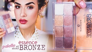 Essence All About BRONZE   УРОК Макияжа   Ревью + Свотчи(Привет, красотки! В этом видео покажу вам, как сделать очень простой макияж в бронзовых тонах, используя..., 2016-05-10T06:12:35.000Z)