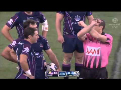 Billy Slater Kick to the Dave Klemmers head Storm vs Bulldogs