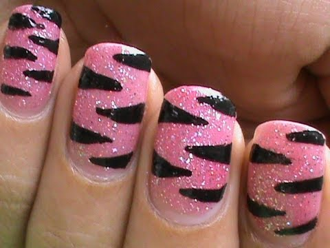 DIY Pink Tiger Nail Art Designs