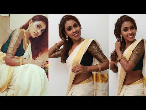 Actress srinikha onam special | onam saree rare collection | saree hip hot - YouTube