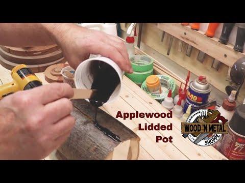 #nosmallcreator Turning an Apple Wood Pot with Epoxy Resin filled Cracks