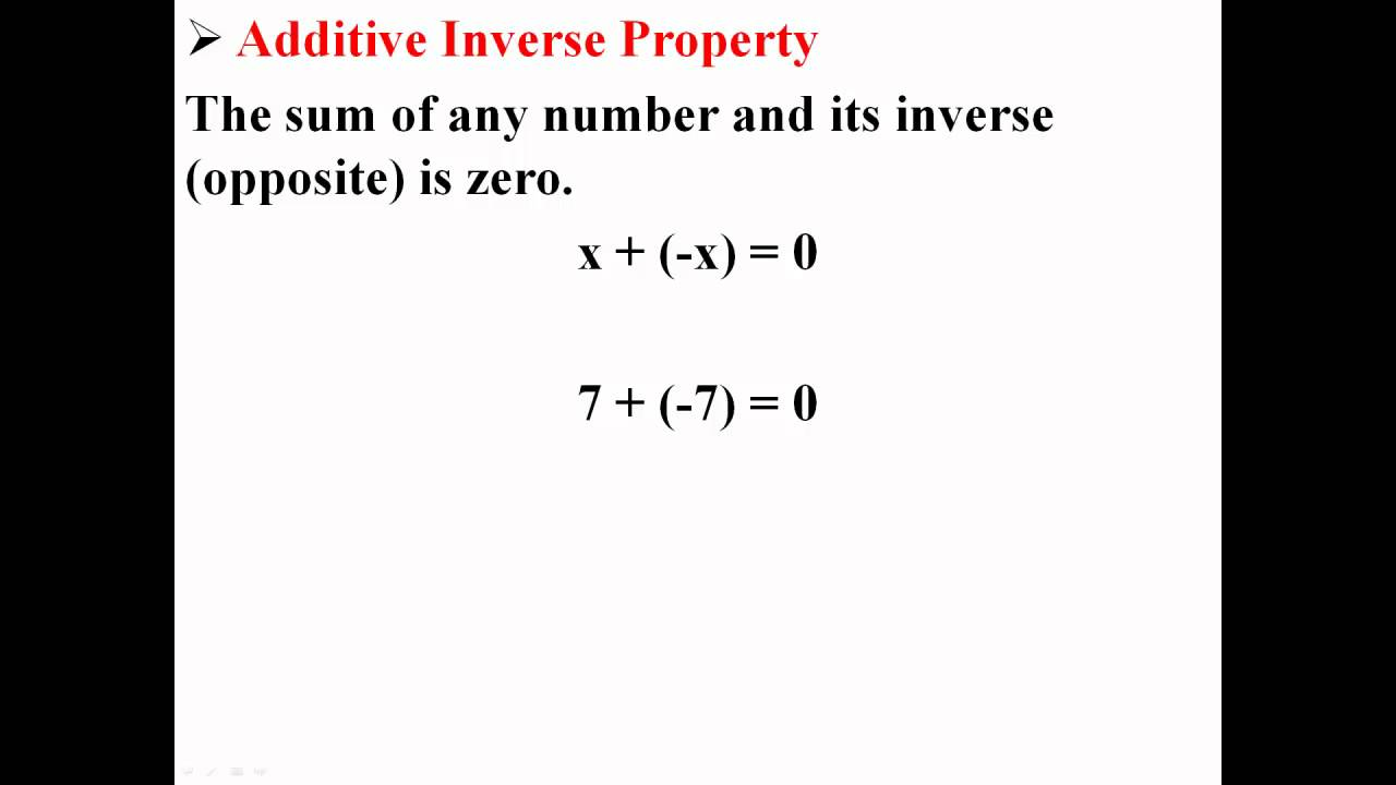 Additive Inverse Property Youtube