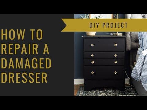 How to Repair Damaged Wood Furniture {DIY Dresser Makeover}