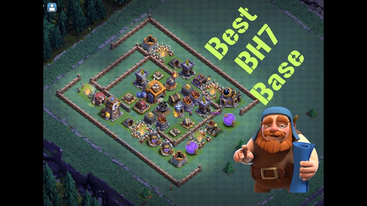 Best Builder Hall 7 Base Design Anti 2 Star Clash Of Clans Youtube