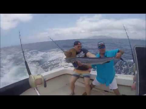 Catching An Ono/Wahoo On The Wild Bunch Sports Fishing Boat Oahu Hawaii