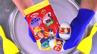 Fireman Sam Surprise Ice Cream Rolls | rolled Ice Cream with Chocolate & Surprise Egg Toys for Kids