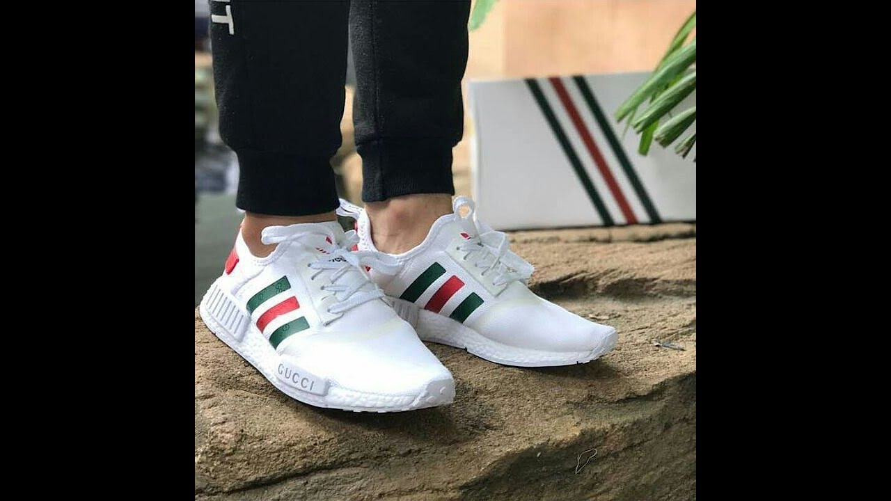 promo code 48055 416a7 On feet and reviewing of Adidas NMD custom Gucci white Unboxing