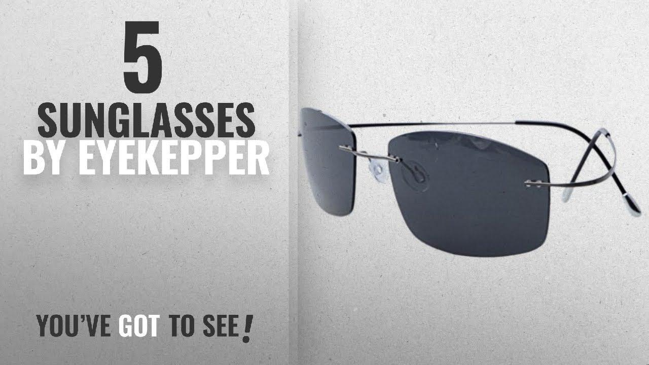 e6e58630b2de Top 10 Eyekepper Sunglasses  2018   Eyekepper Rimless Titanium Frame  Polarized Sunglasses Grey Lens