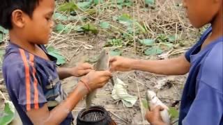 अद्भुत तकनीक में मछली पकड़ने वाला बच्चा
