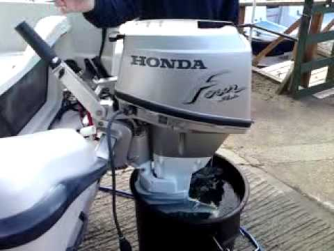 honda 15 hp outboard on terhi micro fun - YouTube