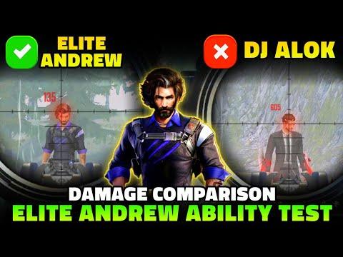 ELITE ANDREW ABILITY TEST   ELITE ANDREW VS DJ ALOK VS CHRONO DAMAGE COMPARISON IN FREE FIRE
