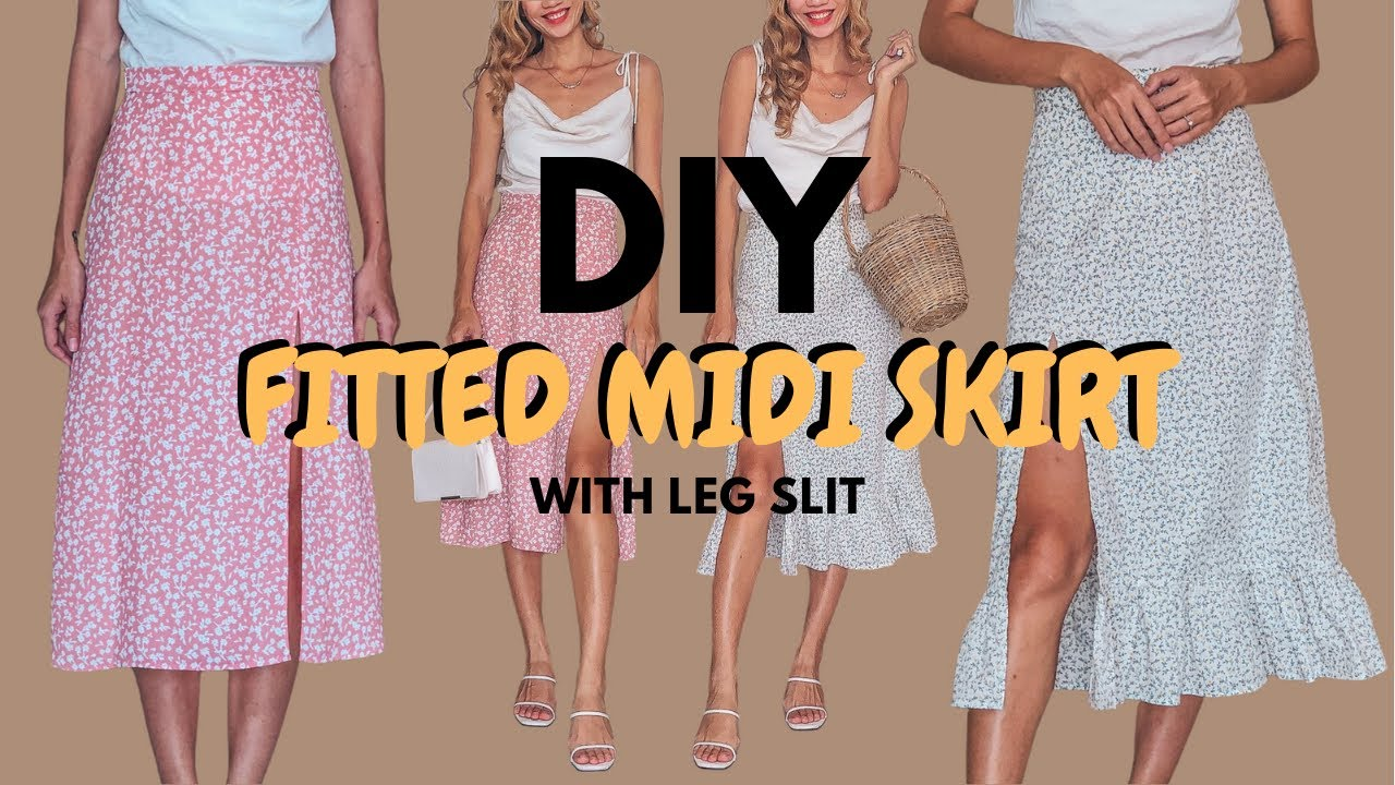 DIY Fitted Midi skirt with leg slit | Step by step sewing tutorial