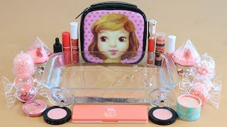 ★color series season6★'CORAL' Mixing 'CORAL' EYESHADOW,make-up and glitter Into Clear Slime.