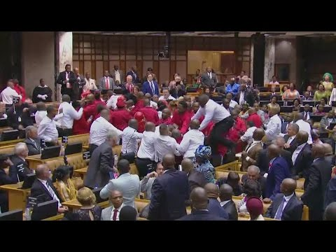 Mass brawl erupts in South African parliament