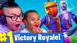 *NEW* SKINS ARE INSANE AND UNSTOPPABLE! 9 YEAR OLD BROTHER CARRIES THE SQUAD? FORTNITE BATTLE ROYALE thumbnail
