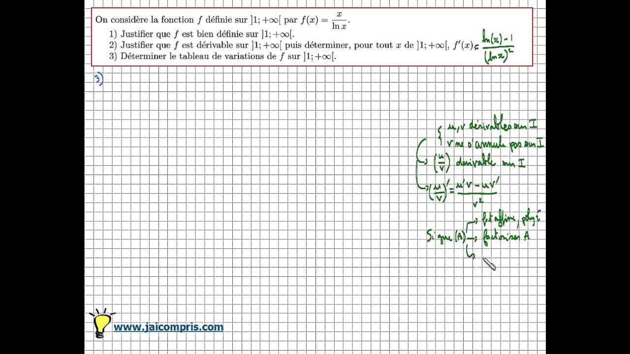 Fonction Logarithme Neperien Derivation Tableau De Variation F X X Ln X Exercice Bac Youtube