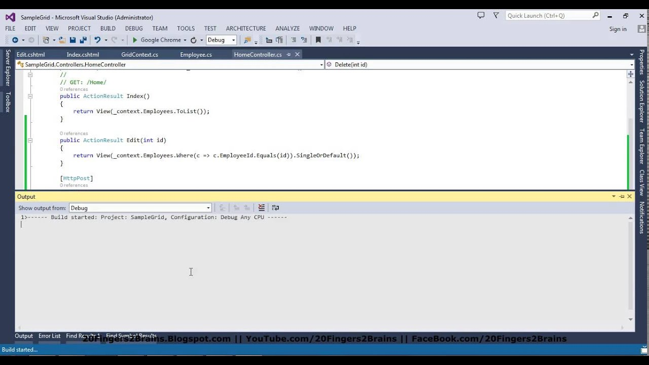 Part 2 - Add, Edit and Delete HTML Grid in MVC5 Code First Bootstrap