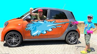 Car Wash with Dad | Timko learns how to wash the car