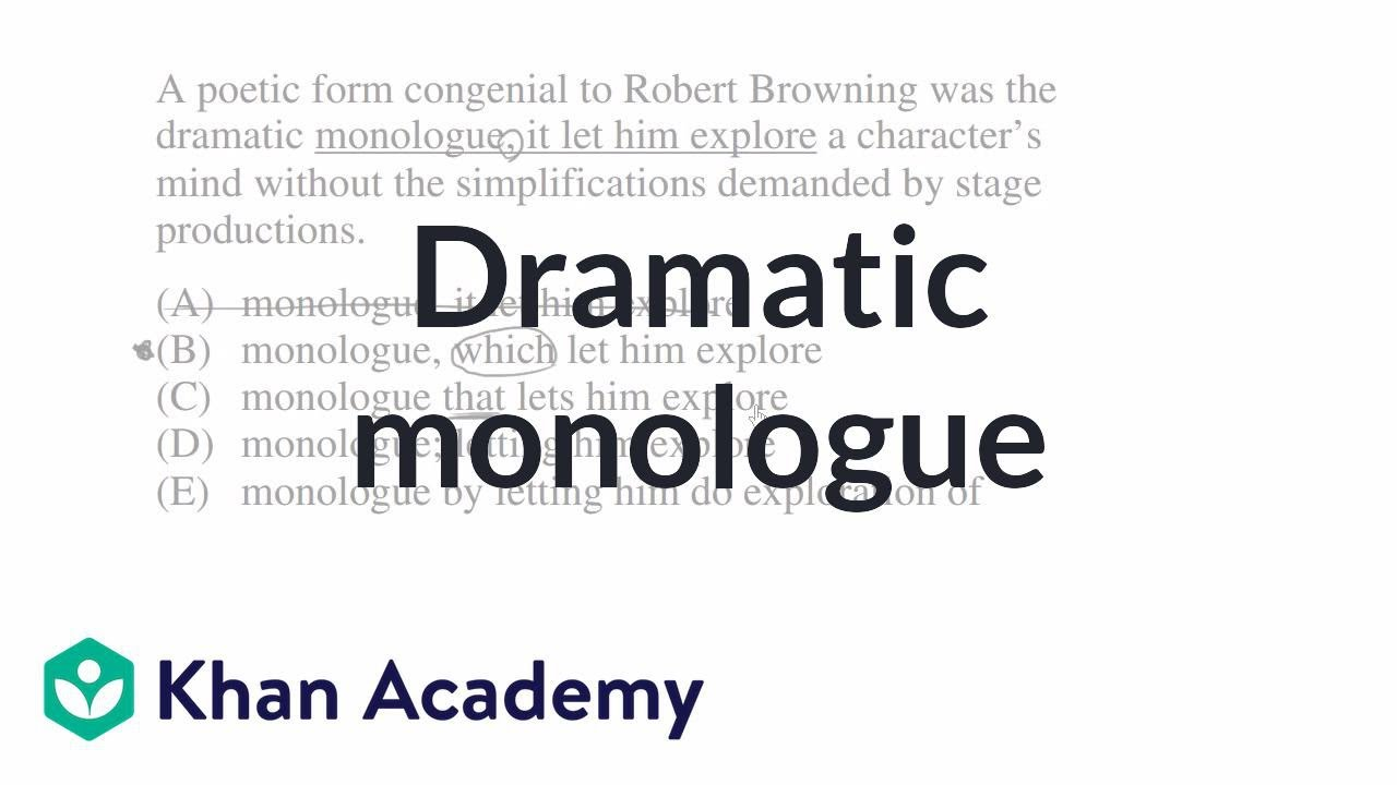 Dramatic monologue poem examples.