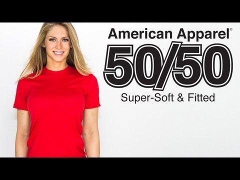 Custom American Apparel 50/50 T Shirt Style On Girl Model (Style BB401)