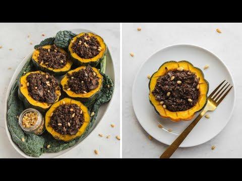 VEGAN Holiday Recipe: Maple Acorn Squash + Rice & Lentil Stuffing!