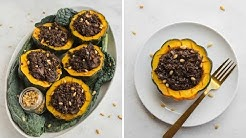 VEGAN Holiday Recipe: Maple Acorn Squash + Rice & Lentil Stuffing!