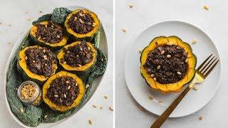 VEGAN Holiday Recipe: Maple Acorn Squash + Rice &amp Lentil Stuffing!