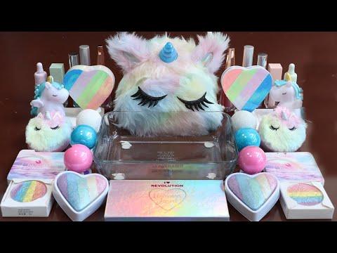 """Special Unicorn""Mixing'Unicorn'Eyeshadow, And Glitter Into Slime!Satisfying Slime Video!★ASMR★"