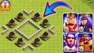 8x Max Multi Mortar vs All Heroes Clash of Clans Gameplay | COC Troll Maze Base