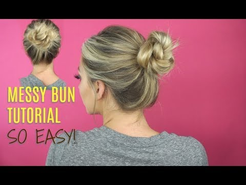 Easy Messy Bun Tutorial! 2 Minute Top Knot thumbnail