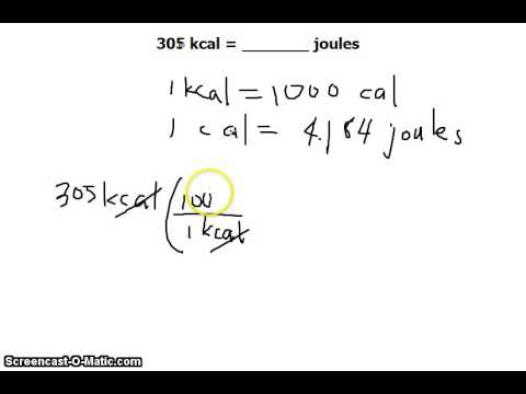 Unit Conversion: KiloCalories (Calories or kcals) to Joules