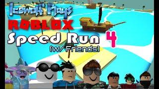 Icewolf Plays ROBLOX: Commentary #1 - Speed Run 4 (w/ Friends)