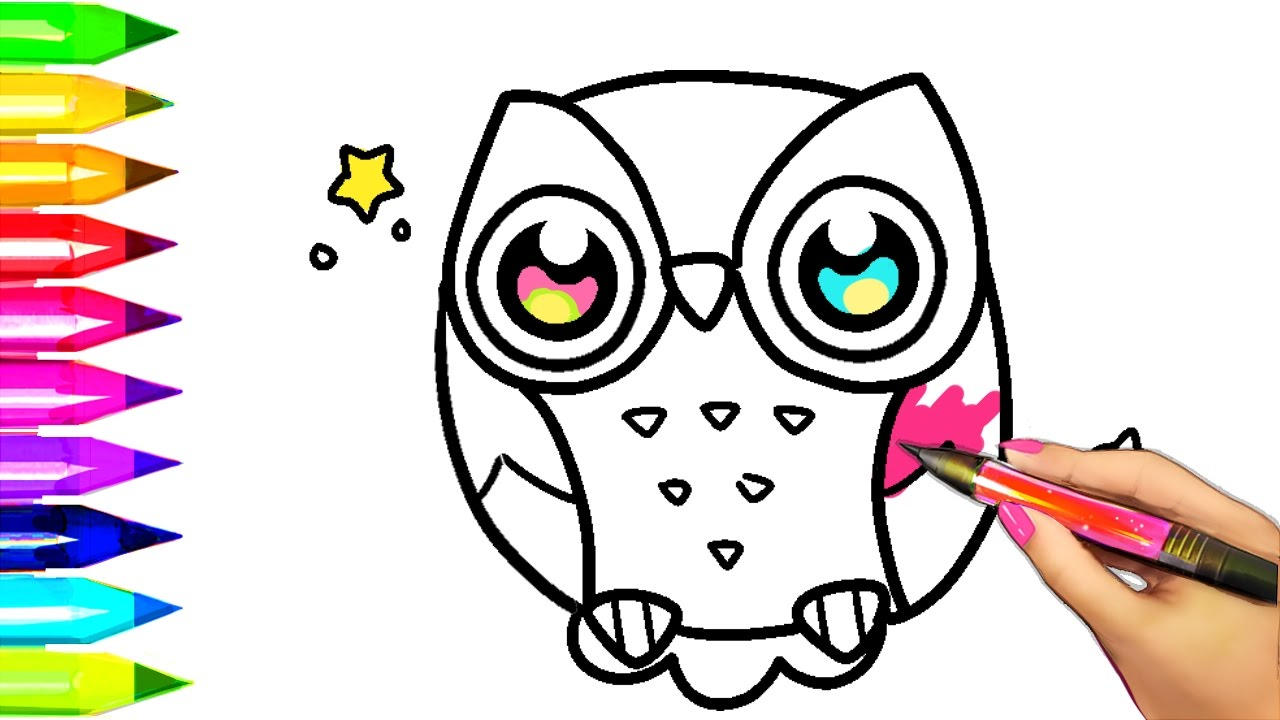 How To Draw And Color OWL Coloring Pages For Kids Learn Colors