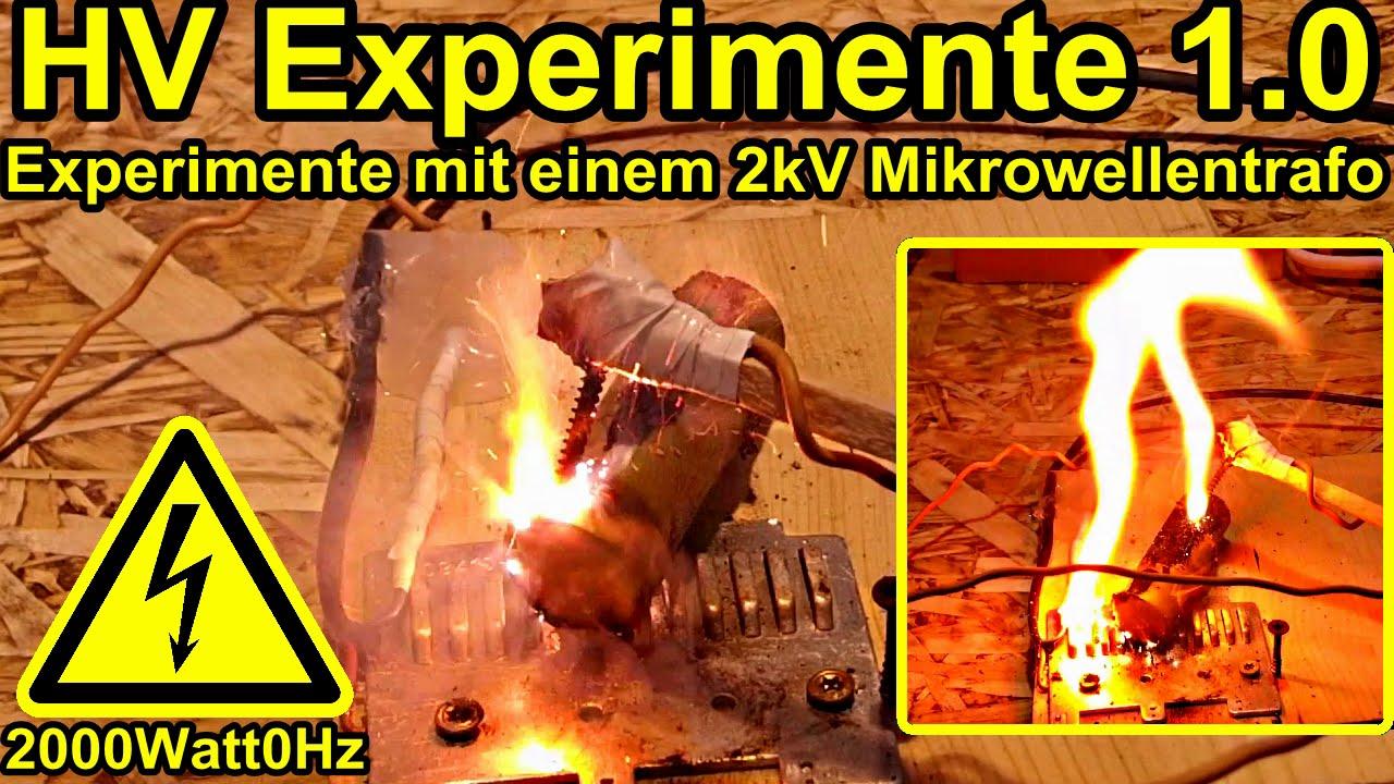 experimente mit einem mikrowellentrafo 1.0 - youtube