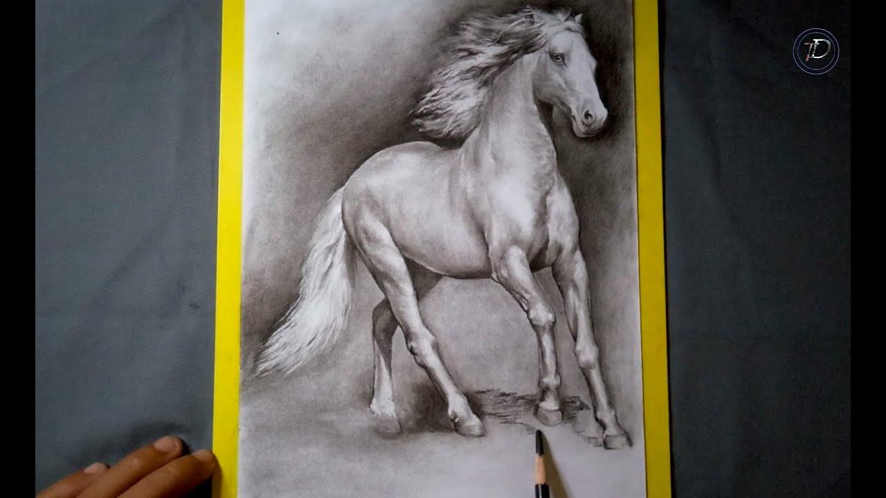 Cara mudah menggambar kuda menggunakan pensil