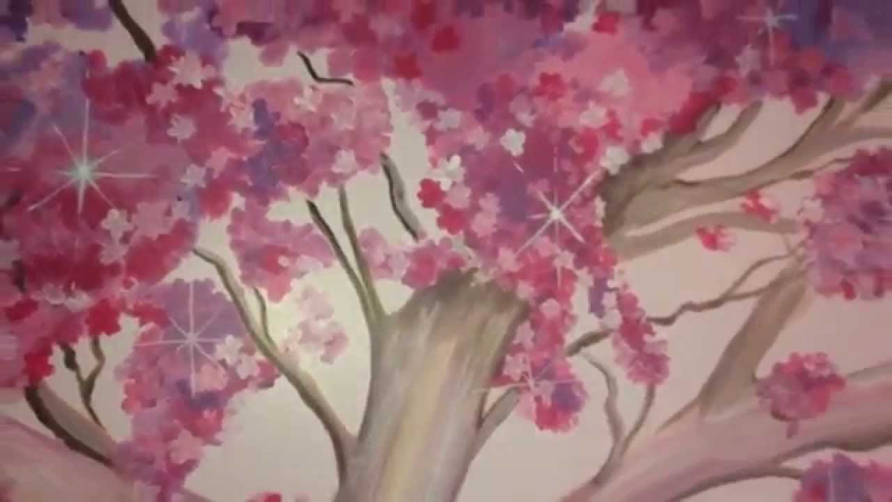 Cherry Blossom tree mural hand painted by drews wonder walls YouTube