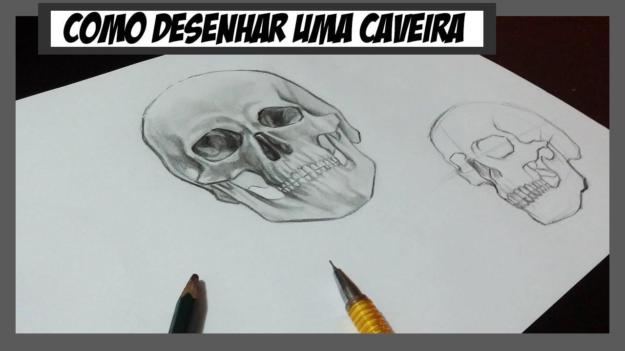 Como desenhar uma Caveira Realista How to draw Skull