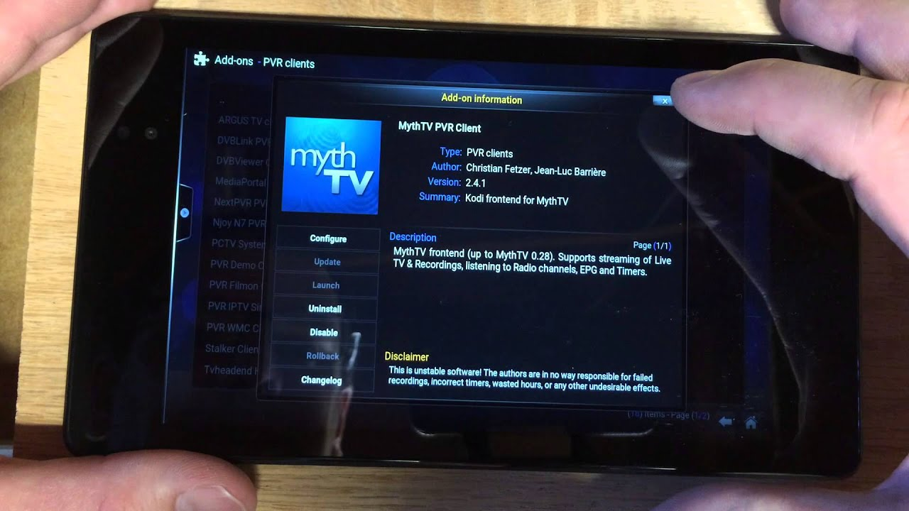MythTV Frontend Kodi Client on Android