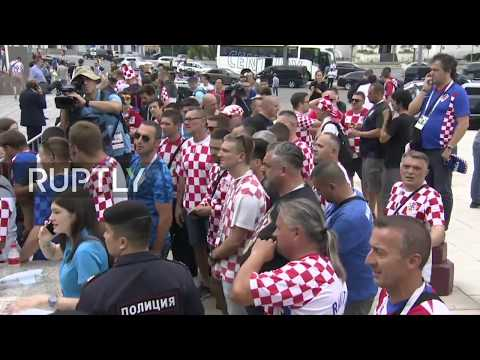 Live: Fans await Croatian team leaving Moscow hotel for final match