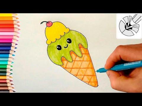 Милые рисунки - Как нарисовать милое Мороженое рожок - Рисунок и раскраска