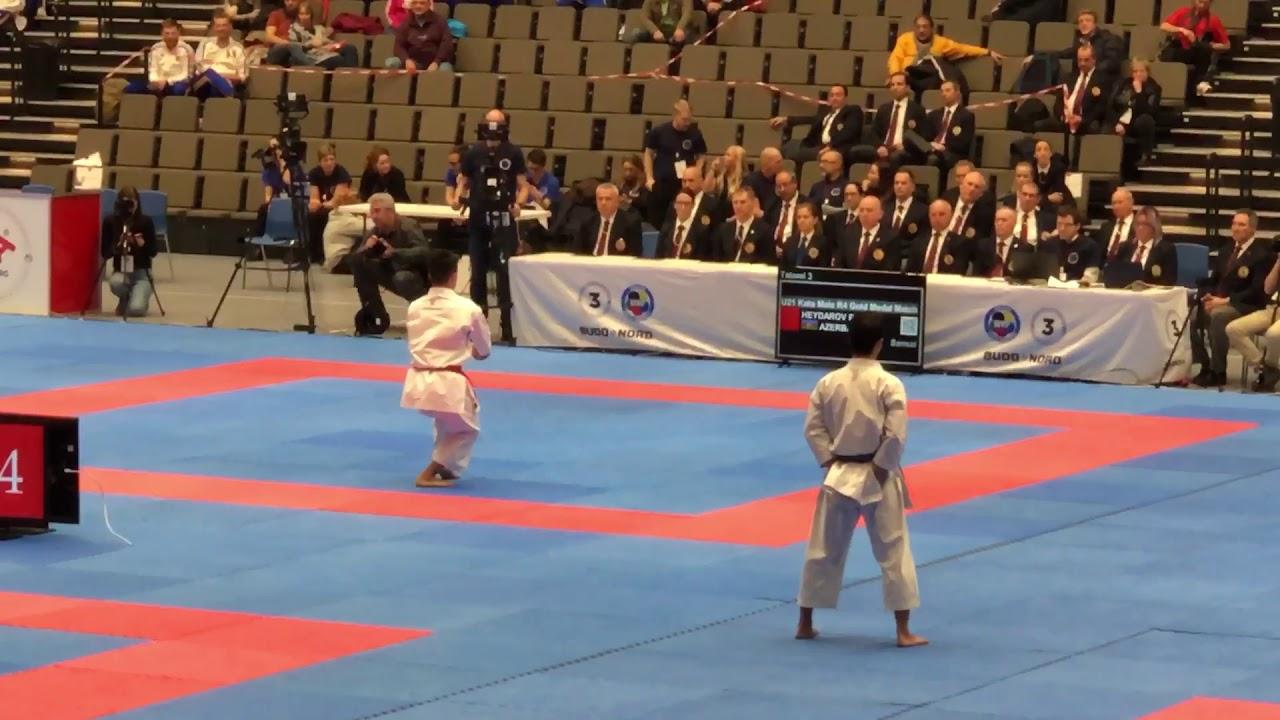 Roman Haydarov (AZE) vs Franck Ngoan (FRA) U21 Male Kata Junior European  Championships Denmark 2019