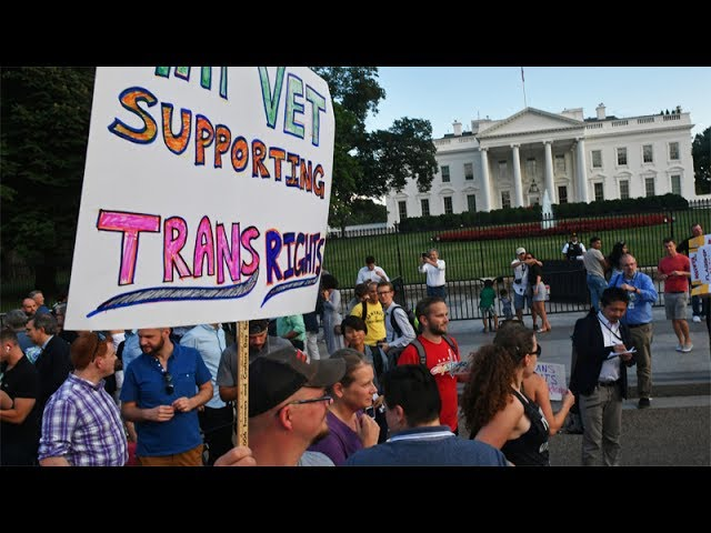 Protest erupts against President Trump's transgender military ban