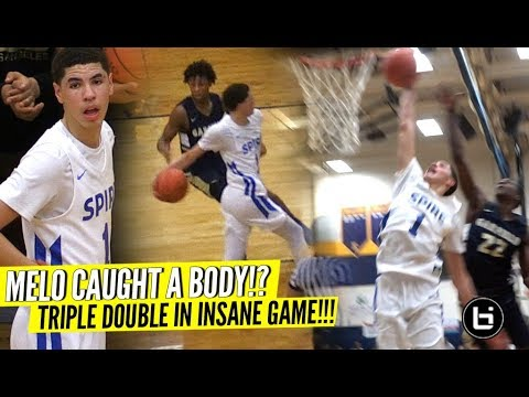LaMelo Ball Nasty TRIPLE DOUBLE  vs LeBron's Nephew!! Melo's Bounce Looking CRAZY!! INSANE GAME!!
