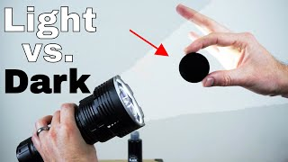 The Worlds Blackest Black vs The Worlds Brightest Flashlight (32,000 lumen)-Which Will Win?