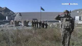 Hüdaferin Köprüsü'nde Azerbaycan Bayrağı böyle dalgalandı!