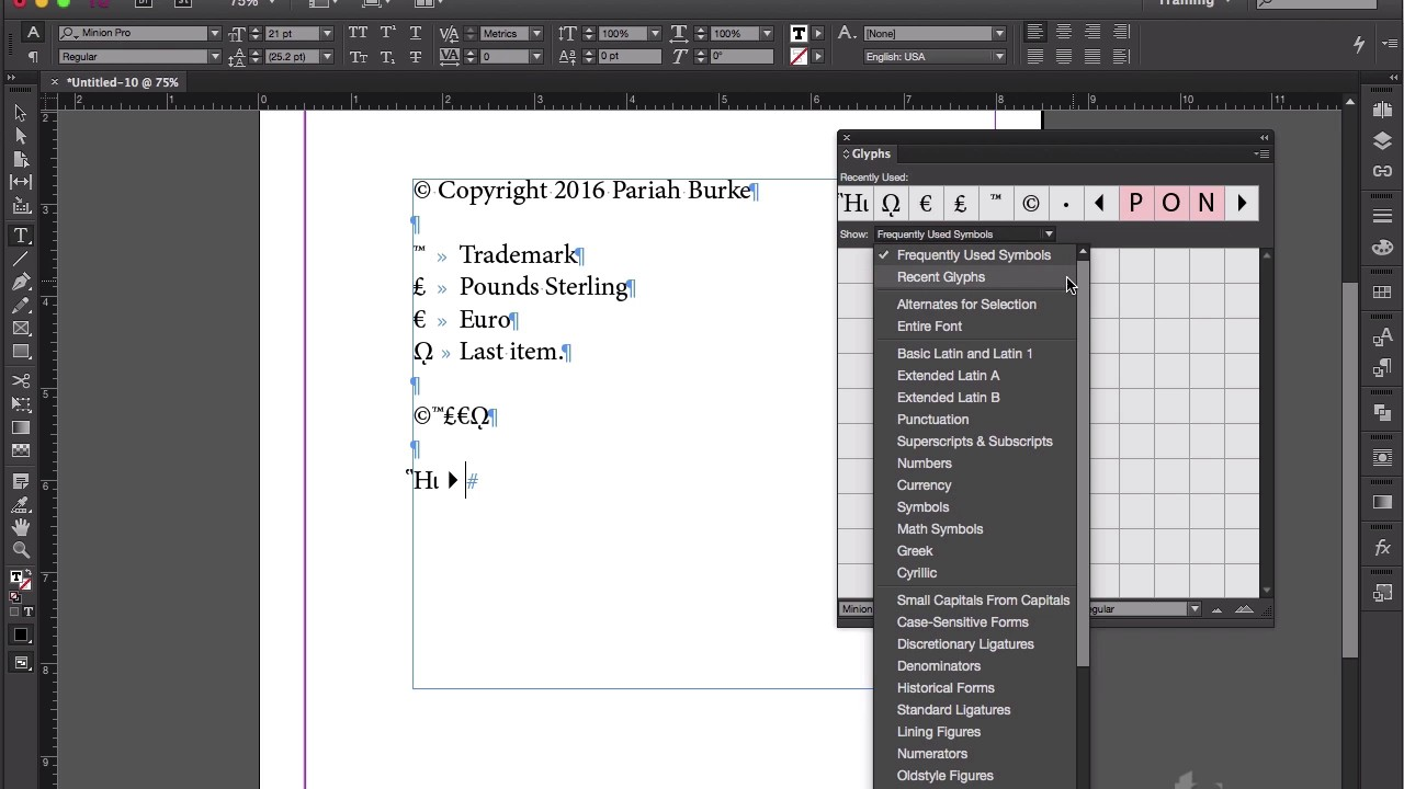 Creating and saving glyph sets of commonly used symbols indesign creating and saving glyph sets of commonly used symbols indesign tip of the week buycottarizona Image collections