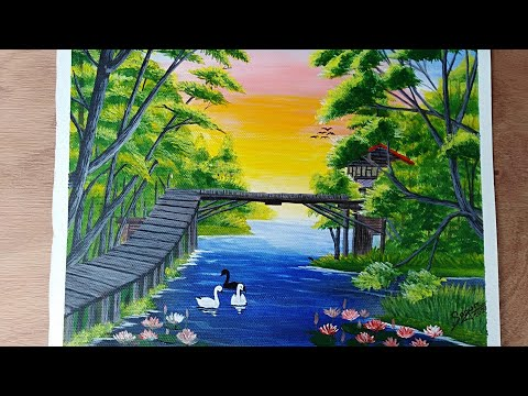 Beautiful landscape nature painting|Acrylic painting on canvas paper easy drawing/sagur art