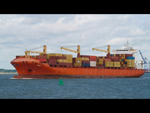 Geared container vessel BARRY sailing from felixstowe 27/6/16.