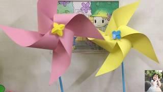 Cách Làm Chong Chóng Bằng Giấy Màu Cực Dễ | How To Make Pinwheel With Colored Paper Very Easy