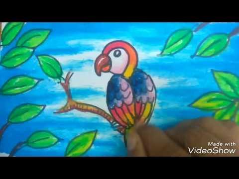Mewarnai Gambar Burung Kakaktua Dengan Oil Pastel By Sanggar Lukis Pelangi Easy Drawing